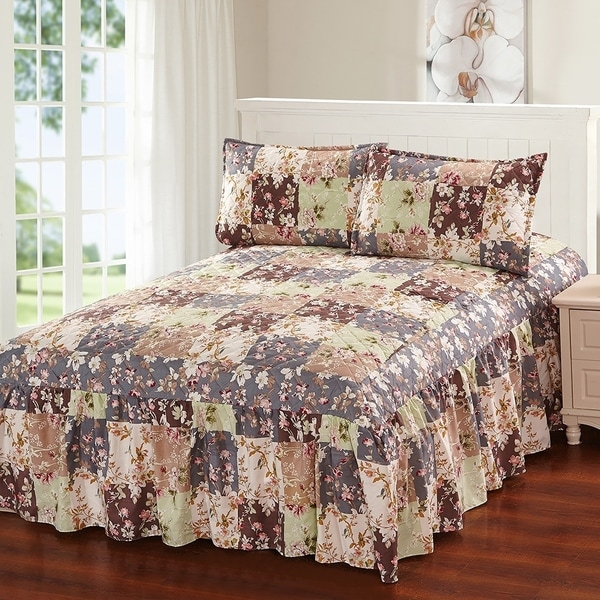 Online Bed Stores: Shop Khloe 3 Piece Bedspread Set With Attached Bed Skirt