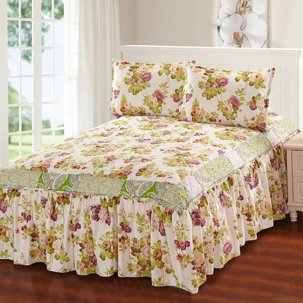 Khloe 3 Piece Bedspread Set With Attached Bed Skirt Green Fl