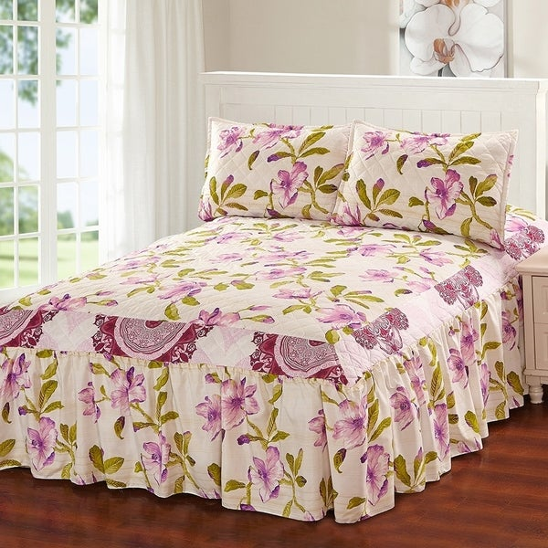 Hailey 3 Piece Bedspread Set With Attached Bed Skirt Lavender Fl