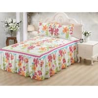Khloe 3 Piece bedspread set with attached bed skirt - Flower Heaven