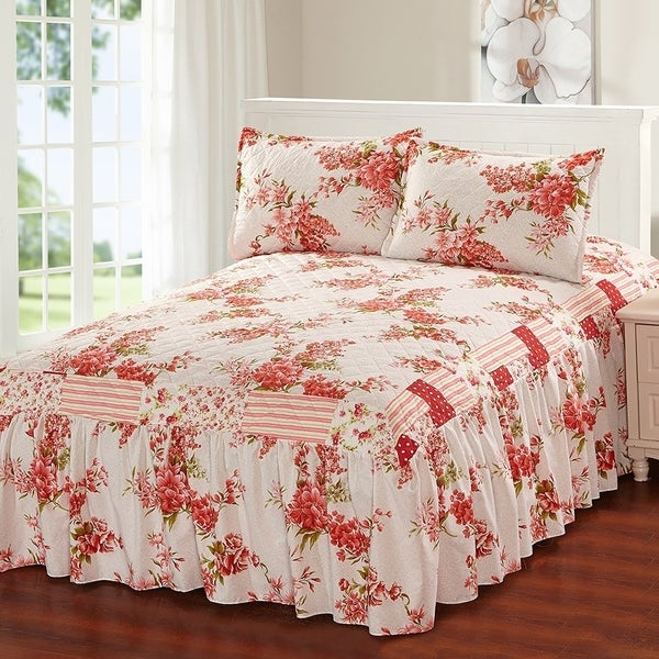 Khloe 3 Piece Bedspread Set With Attached Bed Skirt Strawberry