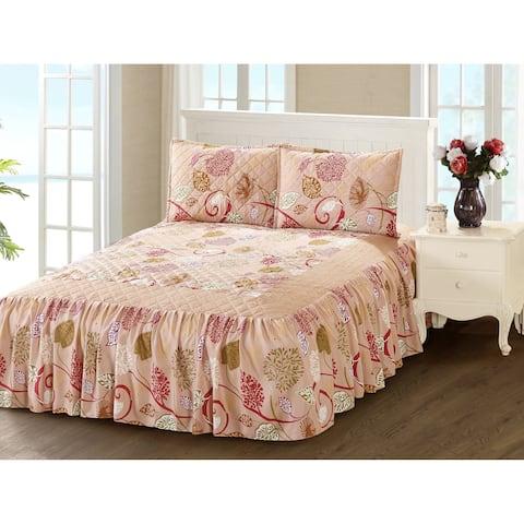 Khloe 3 Piece bedspread set with attached bed skirt - Burgundy Haze