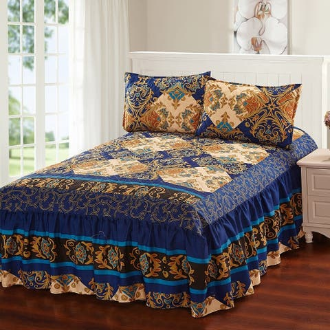 Khloe 3 Piece bedspread set with attached bed skirt - Royal