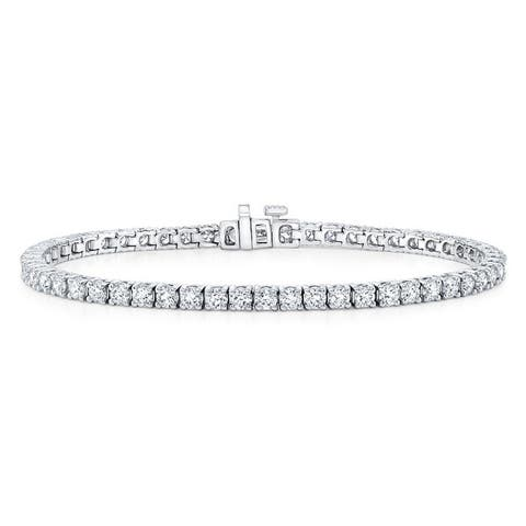 18K White Gold Round Cut Diamond (15.1 ct. t.w) Tennis Bracelet