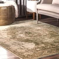 nuLoom Classical Perisian Historical Faded Border Sage Green Area Rug - 8' 10 x 12'