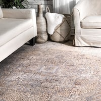 nuLOOM Transitional Vintage Faded Ornamental Athens Mosaic Border Area Rug