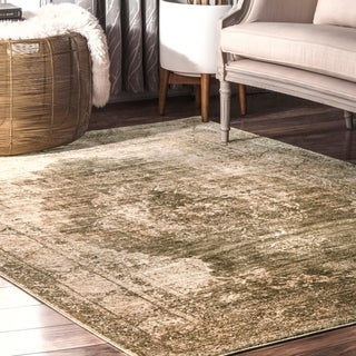 nuLoom Classical Perisian Historical Sage Green Faded Border Area Rug - 5' x 8'