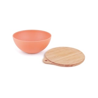 Salad Bowl With Lid and Inset Utensils -Orange