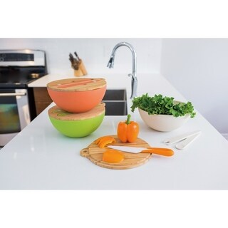 Salad Bowl With Lid and Inset Utensils -GREEN