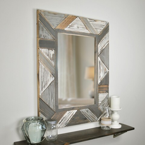 FirsTime Silas Distressed White/Grey/Brown Salvaged Planks Mirror