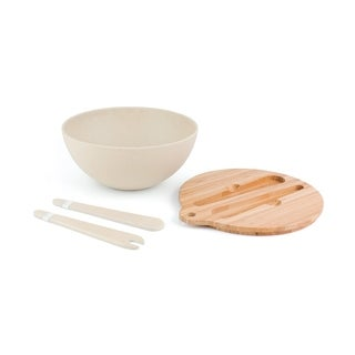Salad Bowl With Lid and Inset Utensils -White