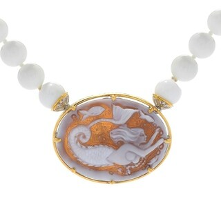 Michael Valitutti Palladium Silver Shell Mermaid Cameo & White Agate Bead Toggle Necklace
