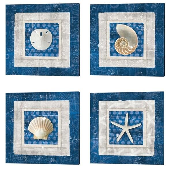 Belinda Aldrich 'Sea Shell on Blue' Canvas Art (Set of 4)