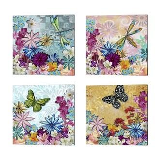 Megan Duncanson 'Whimsical Floral Collage' Canvas Art (Set of 4)