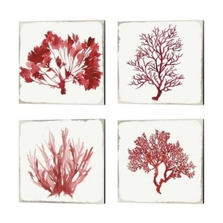 Aimee Wilson 'Red Coral' Canvas Art (Set of 4)