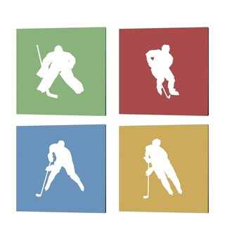 Sports Mania 'Hockey Player Silhouette - Part' Canvas Art (Set of 4)