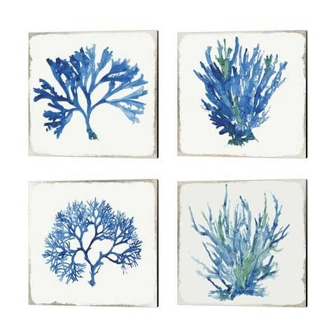 Aimee Wilson 'Blue and Green Coral' Canvas Art (Set of 4)