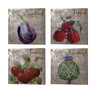 Color Bakery 'Medley Gold Tomato, Peppers, Eggplant & Artichoke' Canvas Art (Set of 4)