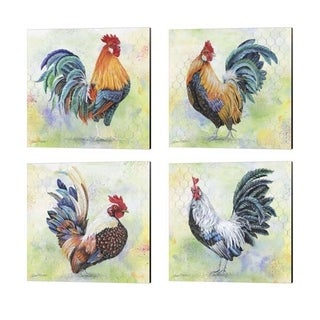 Jean Plout 'Watercolor Rooster' Canvas Art (Set of 4)