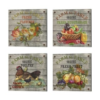 Jean Plout 'Farm to Table' Canvas Art (Set of 4)
