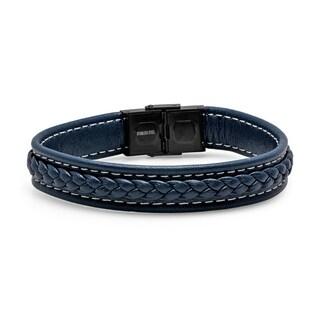 Steeltime Men's Leather Braided Bracelet in 2 colors