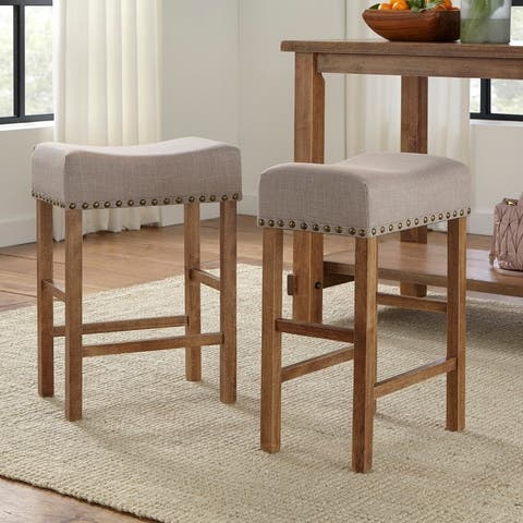 Simple Living Hathaway Nailhead 24-inch Counter Height Saddle Stool (Set of 2)