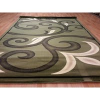 "Rug Tycoon Abstract Modern Contemporary Green Rug - 7'11""x9'10""rectangular"