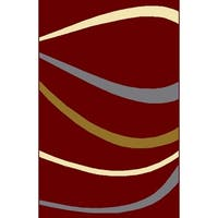 "Rug Tycoon Abstract Modern Contemporary Red Rug - 5'3""x7'2""rectangular"