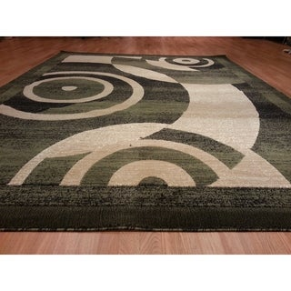 "Rug Tycoon Abstract Modern Contemporary Green Rug - 5'3""x7'2""rectangular"