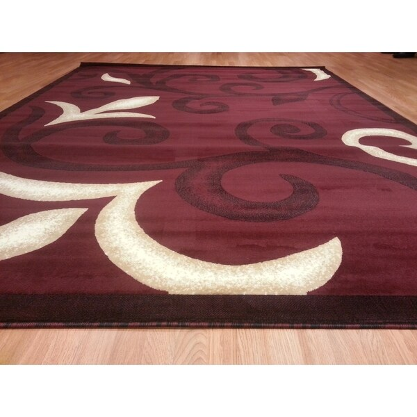 """Rug Tycoon Abstract Modern Contemporary Red Rug - 5'3""""x7'2""""rectangular"""