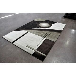 "Rug Tycoon Abstract Modern Contemporary Black Rug - 2'7""x7'2""rectangular runner"