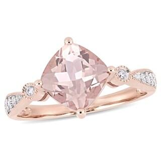 Miadora 14k Rose Gold Cushion-Cut Morganite & 1/10ct TDW Diamond Engagement Ring