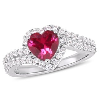 Miadora Sterling Silver Created Ruby and Created White Sapphire Heart Halo Ring