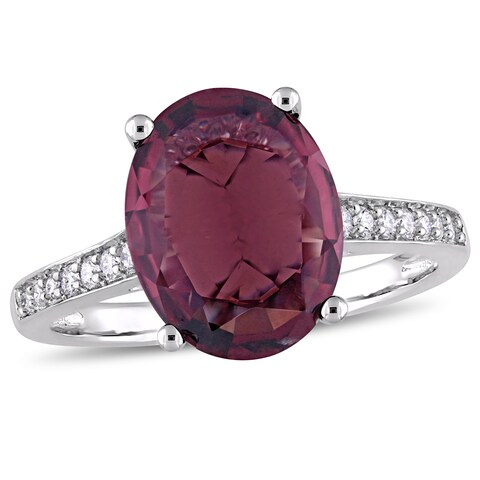 Miadora 14k White Gold Oval-Cut Red Spinel and 1/4ct TDW Diamond Ring