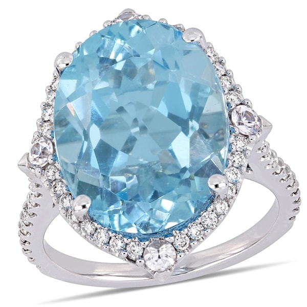 277404d6e Miadora 14k White Gold Sky-Blue Topaz White Sapphire and 3/8ct TDW Diamond