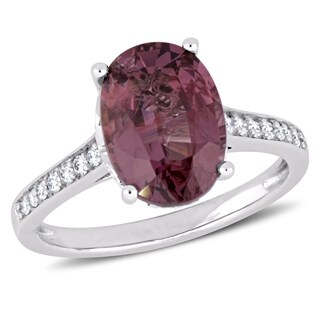 Miadora 14k White Gold Oval-Cut Pink Spinel and 1/4ct TDW Diamond Ring