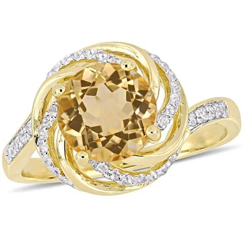 Miadora Yellow Plated Sterling Silver Citrine White Topaz & Diamond Swirl Halo Ring