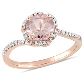 Miadora 14k Rose Gold Morganite & 1/10ct TDW Diamond Floral Engagement Ring