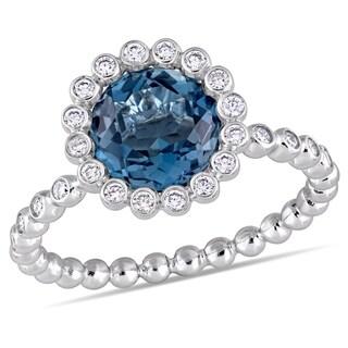 Miadora 14k White Gold London-Blue Topaz and 1/4ct TDW Diamond Beaded Halo Ring
