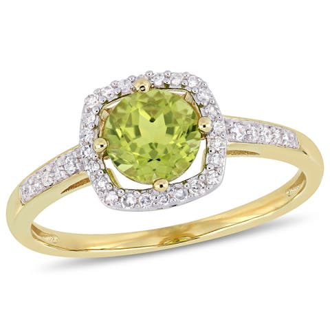 Miadora 10k Yellow Gold Peridot and 1/7ct TDW Diamond Floating Square Halo Ring
