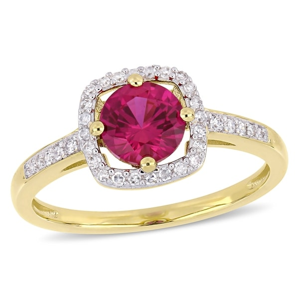 Miadora 10k Yellow Gold Created Ruby and 1/7ct TDW Diamond Floating Square Halo Ring. Opens flyout.
