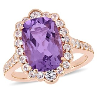 Miadora Rose Plated Sterling Silver Amethyst and White Topaz Halo Ring