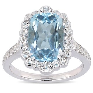 Miadora Sterling Silver Sky-Blue and White Topaz Halo Ring