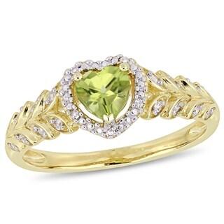 Miadora 10k Yellow Gold Peridot and Diamond Heart Halo Ring