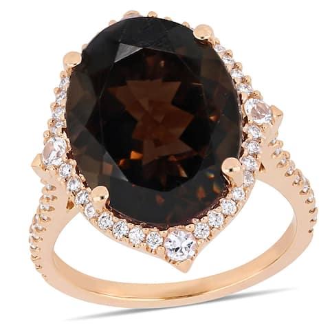 Miadora 14k Rose Gold Smokey Quartz White Sapphire and 3/8ct TDW Diamond Ring