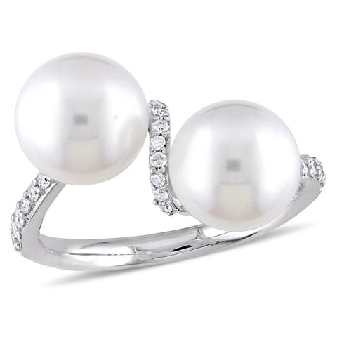 Miadora 10k White Gold Cultured Freshwater Pearl 1/5ct TDW Diamond Bypass Ring (8-9mm)