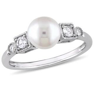Miadora 10k White Gold Cultured Freshwater Pearl White Sapphire and Diamond Ring
