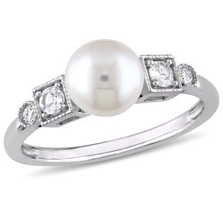 Miadora 10k White Gold Cultured Freshwater Pearl White Sapphire and Diamond Ring