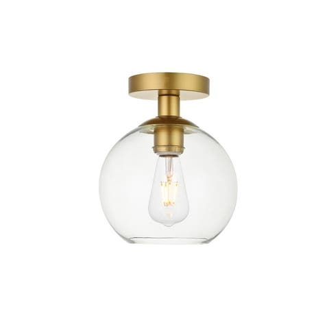 1-Light Flush Mount with 8 inch Clear Glass
