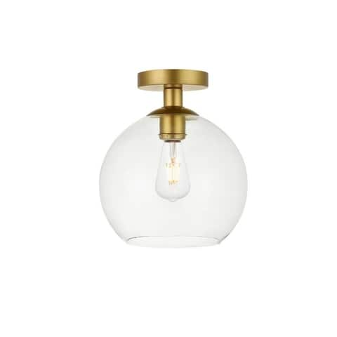 1-light Flush-mount Ceiling Fixture w/ 10-in. Spherical Clear Glass Shade